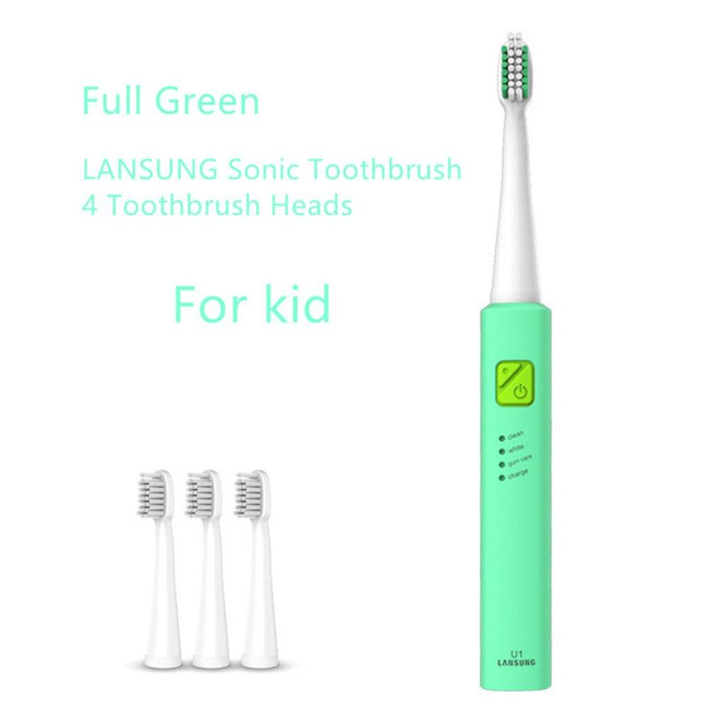 Babysbreath17 Étanche Sonic électrique automatique de charge USB Brosse à dents électrique rechargeable Brosse à dents pour enfants adultes vert
