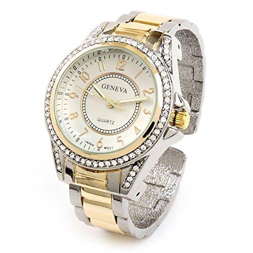 Band Bezel Wrist Watch (2Tone Metal Band Crystal Bezel Large Face Women's Bangle Cuff Watch)