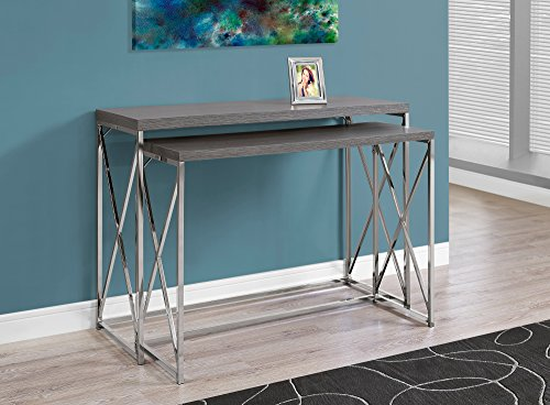Monarch Specialties I 3227 Grey with Chrome Metal Console Table (2 Piece), 46″ L x 18″ D x 32″ H