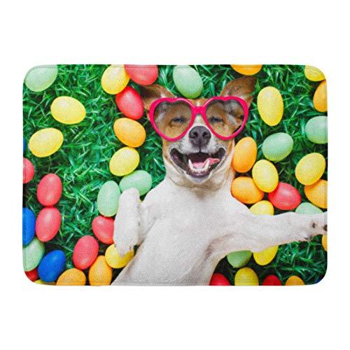 Emvency Doormats Bath Rugs Outdoor/Indoor Door Mat Funny Jack Russell Easter Bunny Dog Eggs Around on Grass Laughing Taking Selfie Smartphone Wearing Bathroom Decor Rug 16