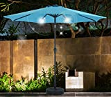 SHORFUNE Solar Powered 40 LEDs Lighted Patio Umbrella, Outdoor Umbrella with Crank and Push Button Tilt, Adaptor Included,Turquoise