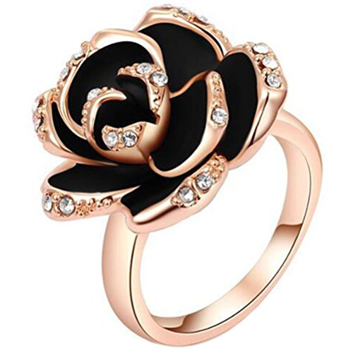 TEMEGO 18k Rose Gold Plated Black Enamel Austrian Crystal Diamond Rose Flower Ring,Size 8 ()
