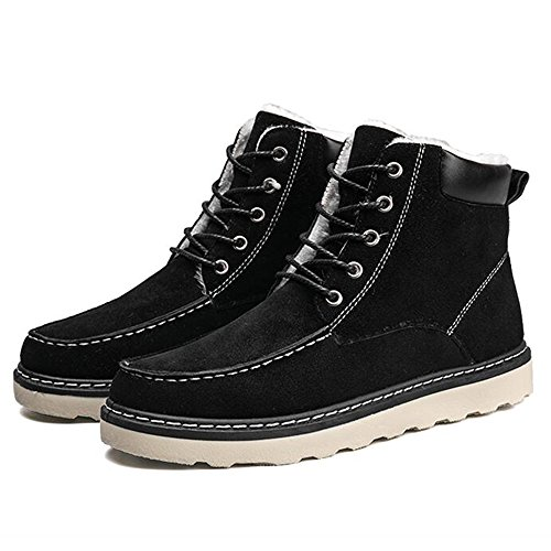 Men's Shoes Feifei High-Quality Materials Winter Non-Slip Keep Warm Casual Fashion Snow Boots 3 Colors (Color : Black, Size : EU39/UK6.5/CN40)