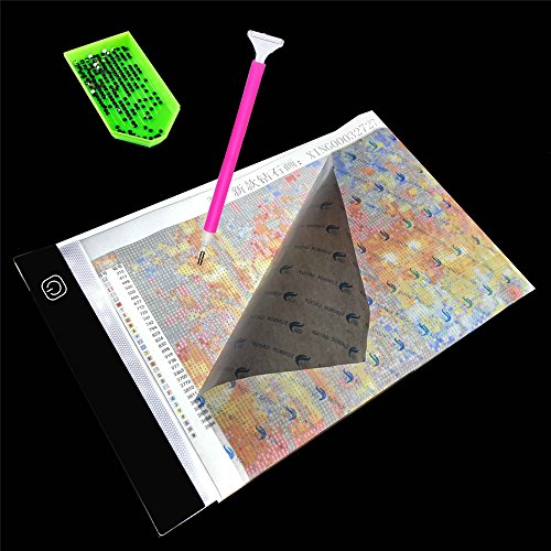 DIY 5D Diamond Painting LED Light Board Table Pad Dimmable Ultrathin 3.5mm A4 Apply to Rhinestone Embroidery Dots Cross Stitch by Number Kits ()