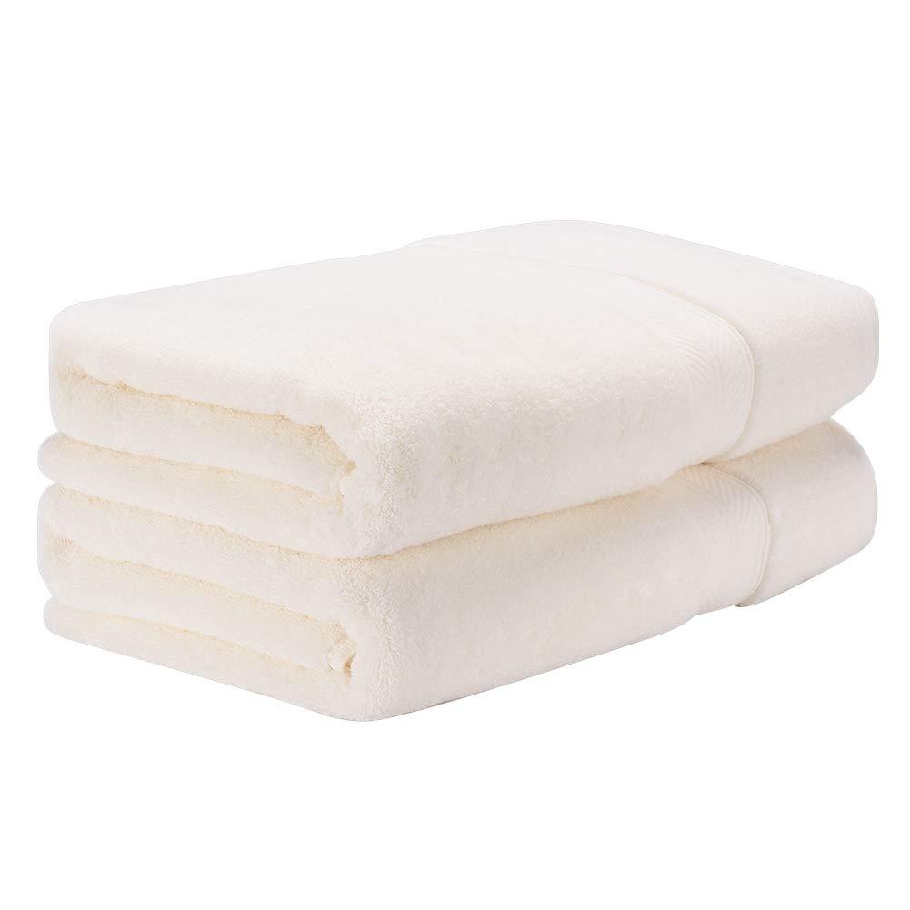 toallas de bañ o, 100% algodó n Juego de 2 Toallas de Ducha, 500gsm toallas de bañ o de lujo, Super Absorbente y Transpirable Toalla para ducha, bañ o, bañ o, hotel, spa, 70x140 cm (Blanco lechoso) baño