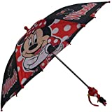 Disney Minnie Mouse Red and Black Umbrella 3D Minnie Handle - Girls One size Toddler
