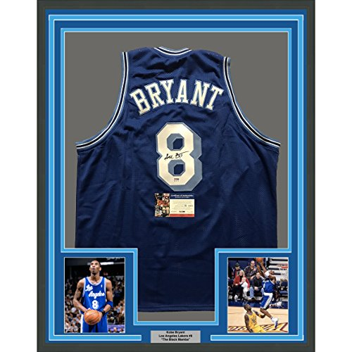 Kobe Bryant Autographs - Framed Autographed/Signed Kobe Bryant 33x42 Los Angeles LA Retro Blue Basketball Jersey PSA/DNA COA