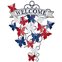 Collections Etc Patriotic Butterfly Metal Welcome Sign Wall Decor Art, Indoor/Outdoor