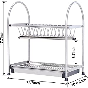 WiseLife Dish Rack Pan Pot Rack 304 Stainless Steel