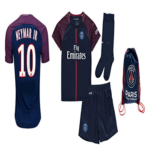 Jersey Kit (Kid / Youth Paris Saint Germain PSG 2017 2018 17 18 REPLICA Home, Away Jersey Neymar Jr, Cavani & Di Maria Kit: Jersey, short, socks + Soccer Bag (PSG Neymar Jr Home w Bag, Size 28 (11-13 Years Old)))
