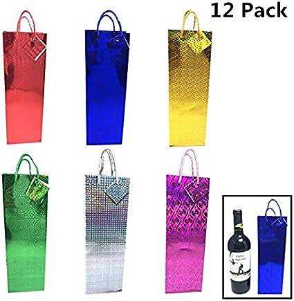 """14/""""X4.75/""""X3/"""" Christmas Bottle Bags,12 Pieces 4 Assortment"""