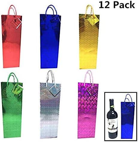 Pack de 12 bolsas de vino de regalo, 14 pulgadas de altura, bolsa de vino de regalo holograma para todas las ocasiones con varios diseños y colores: Amazon.es: Salud y cuidado personal