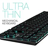 Low Profile Mechanical Keyboard HAVIT Backlit Wired Gaming Keyboard, Extra-Thin & Light, Kailh Latest Blue Switches, 87 Keys N-key Rollover (Black)