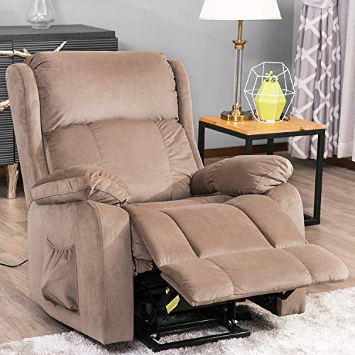 Power Lift Chair for Elderly Reclining Chair Sofa Electric Recliner Chairs with Remote Control Soft Fabric Lounge (Beige)