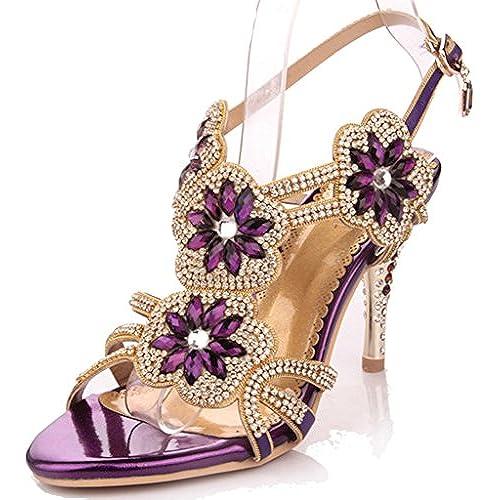 Purple Strappy Heels: Amazon.com