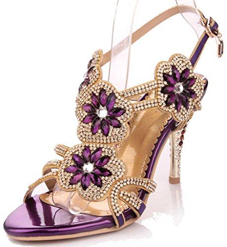 (Littleboutique Women's Glitter Strappy Sandal Rosette Dress Sandals Evening High Heels Wedding Heels grape 6)