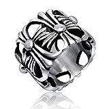 LOMOL Mens Retro Hollow Classic Popular Fashion Titanium Steel Ring Gift For Men
