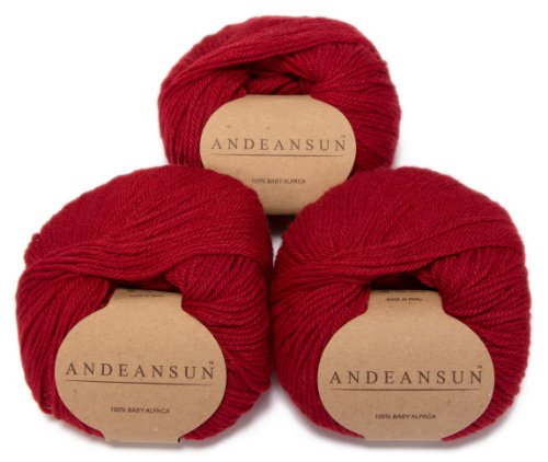 100% Baby Alpaca Yarn (Weight #3) DK - Set of 3 - AndeanSun - Luxuriously Soft for Knitting, Crocheting - Great for Baby Garments, Scarves, Hats, and Craft Projects - (Red) (Alpaca With A Twist Baby Twist Yarn)