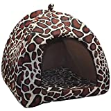 Kuntrona Winter Warm Dog House Kennel Cute White Dots Strawberry Cat Dogs Puppy Bed Pet Sleeping Bag Small Dogs Chihuahua Teddy Brown L