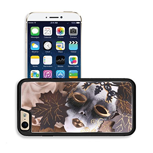 Luxlady Premium Apple iPhone 6 iPhone 6S Aluminium Snap Case Mask on golden fabric on wooden background IMAGE
