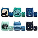ALVABABY Color Snaps Baby Cloth Diapers/Adjustable Washable Reusable/6 Pack with 12 pcs 5-Layer Charcoal Bamboo Inserts 6CM64-ZTN