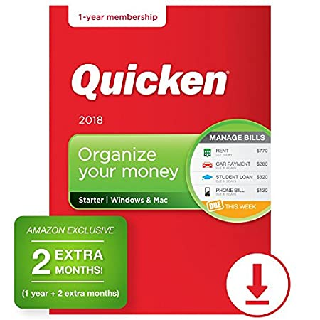 Quicken Starter 2018 – 14-Month Personal Finance & Budgeting Software [PC/Mac Download] – Amazon Exclusive