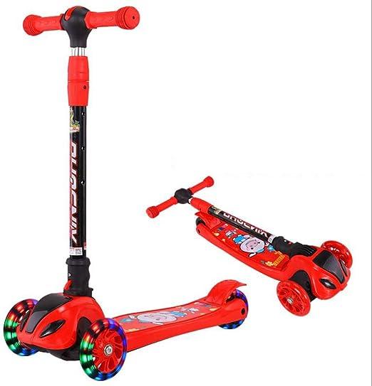 LLRDIAN Scooter Infantil Plegable Rueda Ancha de Tres Ruedas Flash Bicicleta niño Principiante yo Coche Elevador Ajustable 2-12 años de Edad Scooter de niños (Color : Rojo): Amazon.es: Hogar
