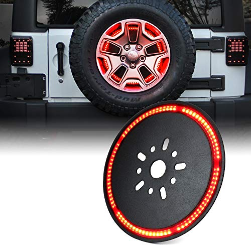Xprite 14″ Spare Tire Brake Light, 3rd LED Rear Wheel Lights Third Tail Lamp for 2007-2018 Jeep Wrangler JK