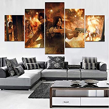 Inch Size Gabcus Canvas Pictures Home Decor Wall Art 5 Pieces Game Resident Evil 6 Paintings HD Prints Modular Posters Living Room Framework - : Size1, Color: No Frame