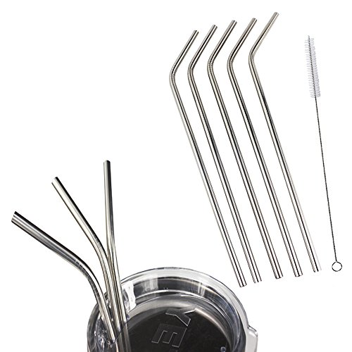 5 Pack Stainless Steel Drinking Straws Fit 20 oz & 30 oz YETI ,RTIC,Ozark Tail Rambler Tumbler Cups By EHME Brand,Free Cleaning Brushes Included