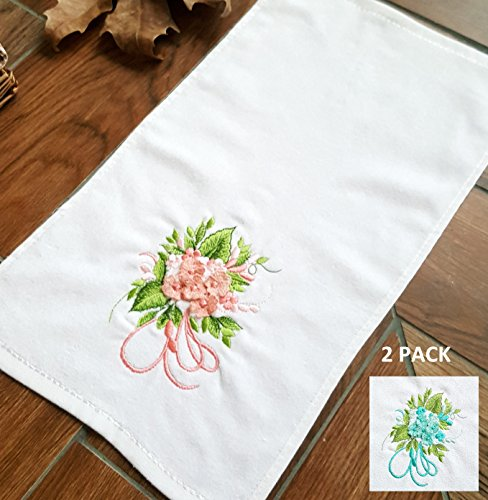 Secret Sea Collection - Set of 2, 100% Quality Cotton Embroidered Hand Towels (12x20 inches) (Flower Bouquet) (Pretty Bouquet Pink)