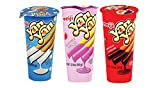Meiji Yan Yan 2 Oz Biscuit Sticks Variety 3 Packs – Vanilla, Chocolate, and Strawberry Cream Dip