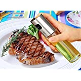 Glass Cooking Oil Sprayer Olive Oil Sprayer Pump Stainless Steel Oil Dispensers Bottle For Salad/Bread Baking/Barbecue With 2 Bouns Brushes