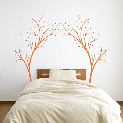 (Large Star Tree Vinyl Decal - Decor Wall Sticker for Baby Nursery or Kids Room Home Design Transfer (Persimmon, 80x99 inches))
