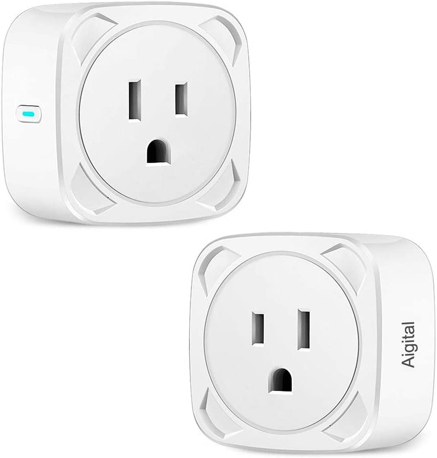WiFi Plugs Mini Smart Outlet Wireless Socket Compatible with Echo Alexa/Google Home, Aigital WiFi Smart Plug with Remote Control and Timer Function, No Hub Required | 2 Pack
