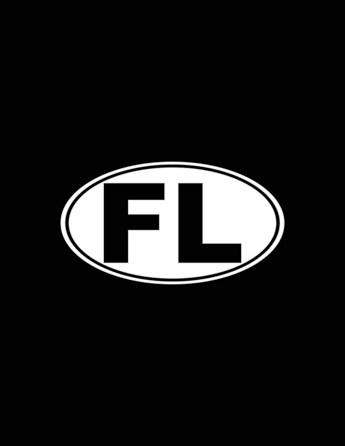 Florida Oval Decal White Choose Size