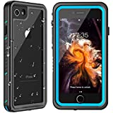 MYJOJO iPhone 7 Waterproof Case iPhone 8 Waterproof Case, 2019 Full Body Protective Shockproof Sandproof Dirtproof IP68 Underwater Outdoor Waterproof Case for iPhone 7 & iPhone 8 (Blue/Clear)