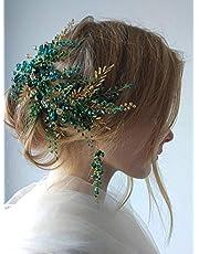 Denifery Bridal Hair Accessories Crystal Headband Earrings Sets Vintage Green Gold Hair Vine Diadem Tiara Evening Party Customised Wreath Wedding Headpiece (Headband&Earrings)