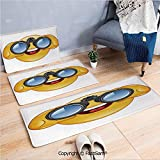 3 Piece Fashion Flannel Door Mat Carpet Smiley Face with a Telescope Binoculars Glasses Watching Outside Cartoon Print for Door Rugs Living Room(W15.7xL23.6 by W19.6xL31.5 by W19.6xL59)