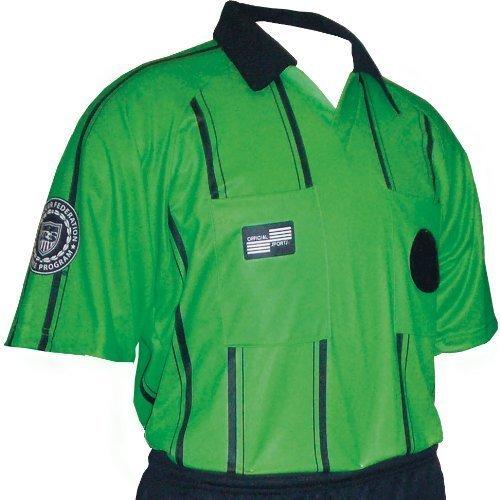 USSF経済サッカーレフェリーラグラン半袖ストライプシャツ(グリーン大人用XXL ) B00Y173SBQ