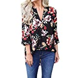 GIFC Clearance Women Fashion Casual V Neck Printed Blouses Loose Three Quater Sleeve Shirts Tops