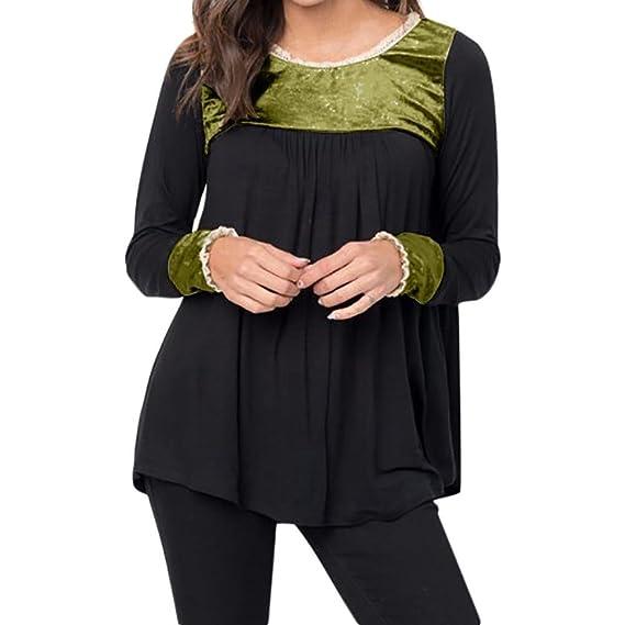 Blusas y camisas,Koly Mujer Cordón Blusa Cuello O Camiseta Verano Terciopelo Tee Encaje Patchwork