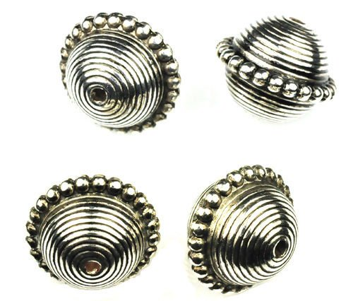 - Jewelry Making Beads 6 Antique Silver Beaded Round Plastic Beads 23MM