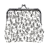 Coin Purses Black White Numbers Website Kiss-lock Buckle Vintage Clutch Cosmetic Bags