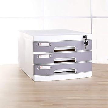 FPigSHS Archivadores de fichas Archivadores Caja de Almacenamiento Muebles de Oficina Gabinete de Archivo Escritorio 3 Pisos con Cerradura Tipo de cajón ...