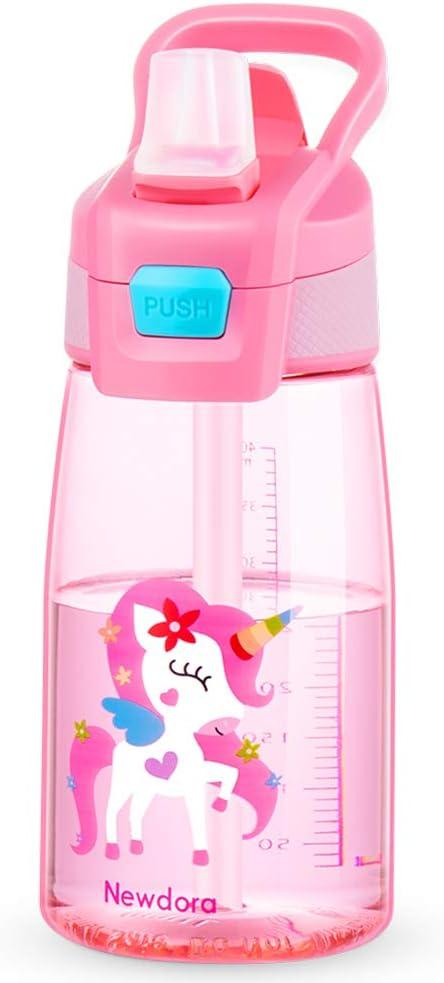 Newdora Botella de Agua para Niño, 480ml Botella a prueba de Fugas, Botella Agua con Pajitas, sin BPA, Dibujos de Unicornio, Rosa