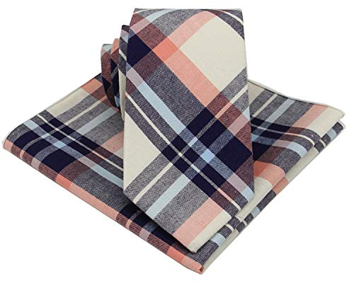 Mens Madras Plaid Tie Set : Necktie with Matching Pocket Square -Various Colors (Light Coral)