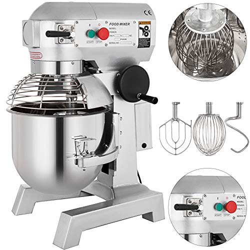 Happybuy Commercial Mixer 3 Speeds Adjustable Food Grinder 110/178/390 RPM for Meat Vegetables and Fruit, 10 Quart, Upgrade Design (Mixer Cake Oster Bowl With)