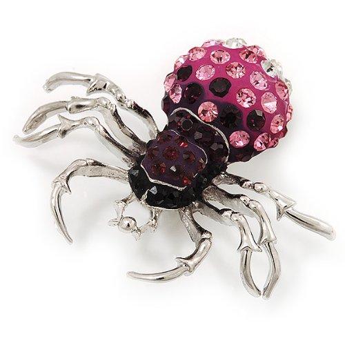 Broche Araignée cristal Swarovski en métal plaqué rhodium