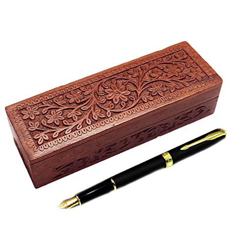 (GD Wooden Pencil Box, Flower Design Carving Work Pen Box, 8 inch Storage Box, Wooden Pencil Box/Handmade Wooden Jewellery Box for Women)